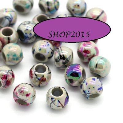10 Perle Distanziatori Colore AB Foro Largo 8mm
