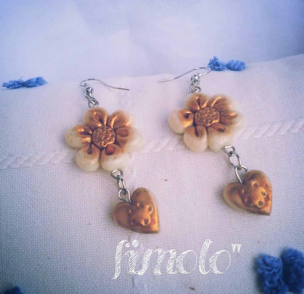 orecchini fiore cuore avorio