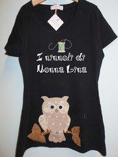 T-shirt donna taglia s scollo rotondo  maniche corte con disegno in applique