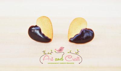 Orecchini biscotto a forma di cuore