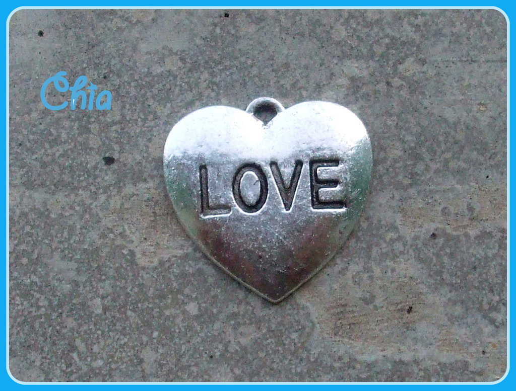 5 charms cuore LOVE 20x20mm