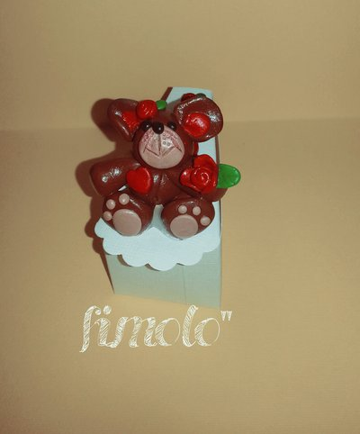 bomboniera fettina di torta con orsetto