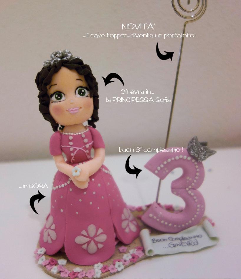 cake topper compleanno personalizzato principessa sofia