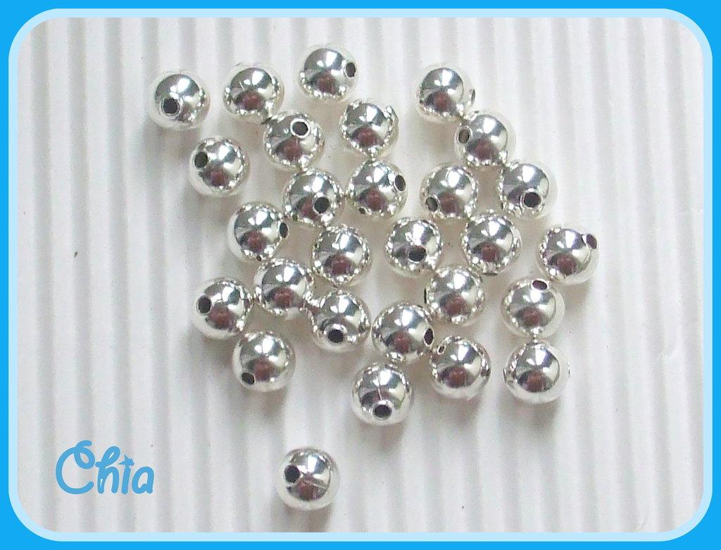 40 perline 5 mm circa color argento
