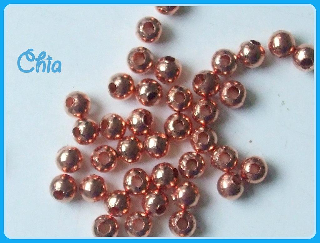 40 perline 5 mm circa color oro rosa