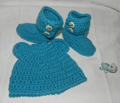 Stivaletti e cappellino bebè unisex misto lana stile Ugg