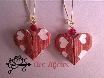 Orecchini origami cuore rosso