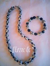 collana di perle con bracciale di perle in fimo