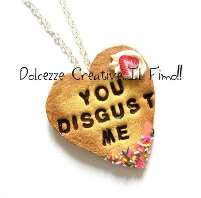 Collezione *Collane Maleducate* Biscotti cookie con glassa e cioccolato - You disgust me - Pastel Goth