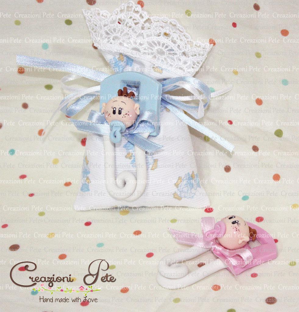 Bomboniera battesimo nascita bimbo spilla da balia bebé