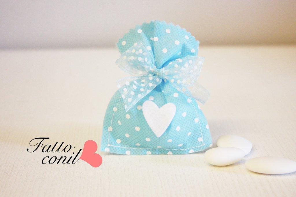 Sacchetto bomboniera celeste a pois  per il tuo evento del cuore
