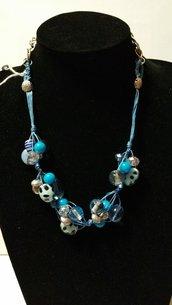 """collana """"nodi"""" con pietre celesti/azzurre"""
