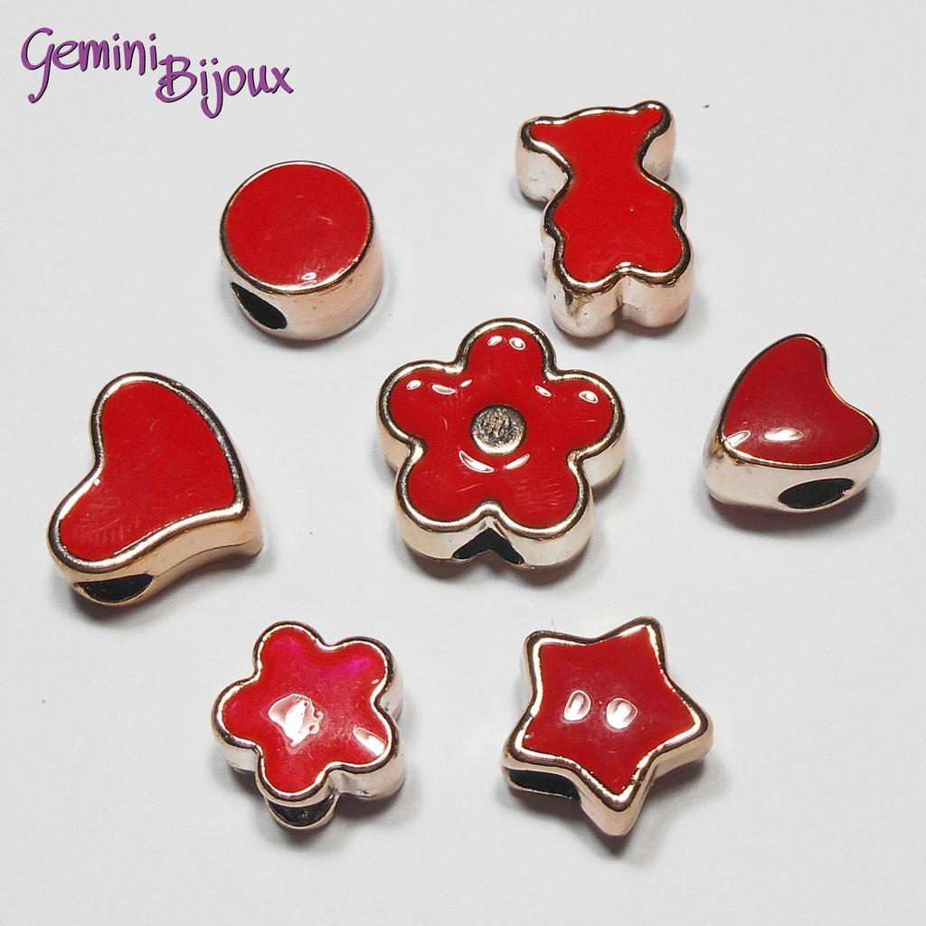 Lotto 7 perle a foro largo acrilico mix, rosso