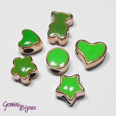 Lotto 6 perle a foro largo acrilico mix, verde