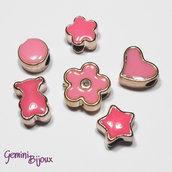 Lotto 6 perle a foro largo acrilico mix, rosa