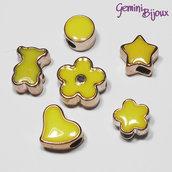 Lotto 6 perle a foro largo acrilico mix, giallo