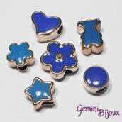 Lotto 6 perle a foro largo acrilico mix, blu