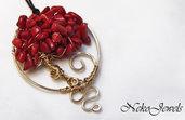 Pendente Albero della Vita Gioiello filo di rame wire wrapped color oro Segno Zodiacale Ariete corallo rosso bambù Chakra Svadhisthana SPEDIZIONE GRATUITA