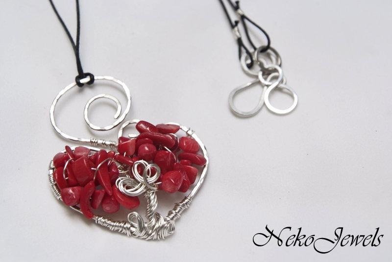 Albero della vita pendente Filo rame argentato collana Corallo rosso bambù gioiello Ariete Secondo Chakra Svadhisthana SPEDIZIONE GRATUITA