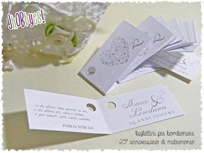 Biglietti Bomboniera 25° anniversario di matrimonio