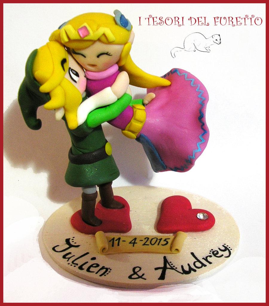 """MIniatura  """"Elfetti Innamorati"""" Miniatura personalizzata Cake topper Matrimonio folletti  fimo cernit kawaii fantasy stile manga folletto sposi"""