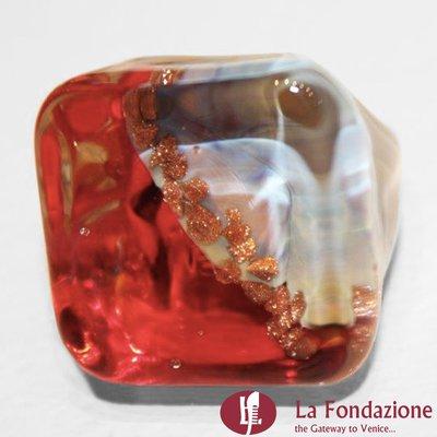 Cubo Calcedonio Cristal Rosso - Anello in vetro di Murano