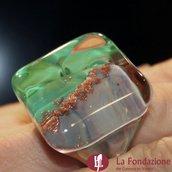 Cubo Calcedonio Cristal Verde - Anello in vetro di Murano
