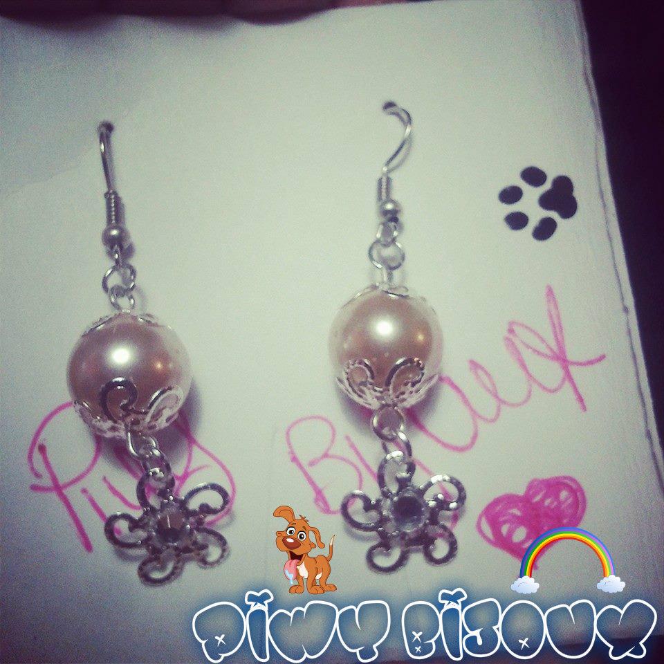orecchini perla rosa