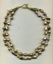 Collana corta a 2 fili in perle barocche rosa/oro