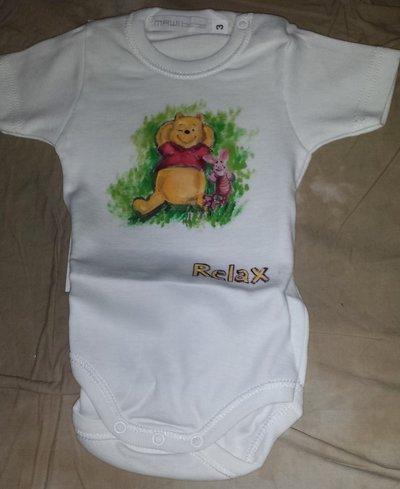 Body neonato Winnie dipinto a mano
