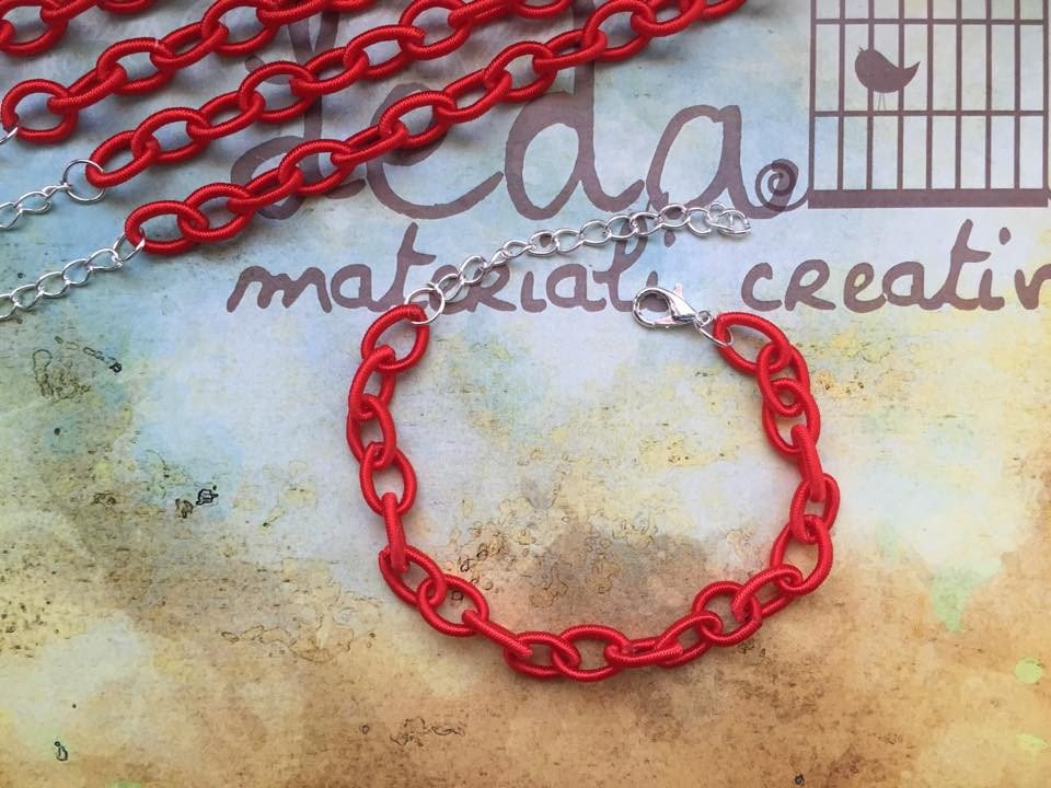 Base bracciale catena di seta rosso