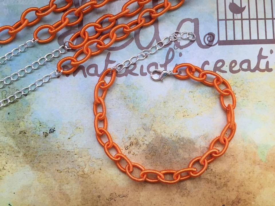 Base bracciale catena di seta arancio
