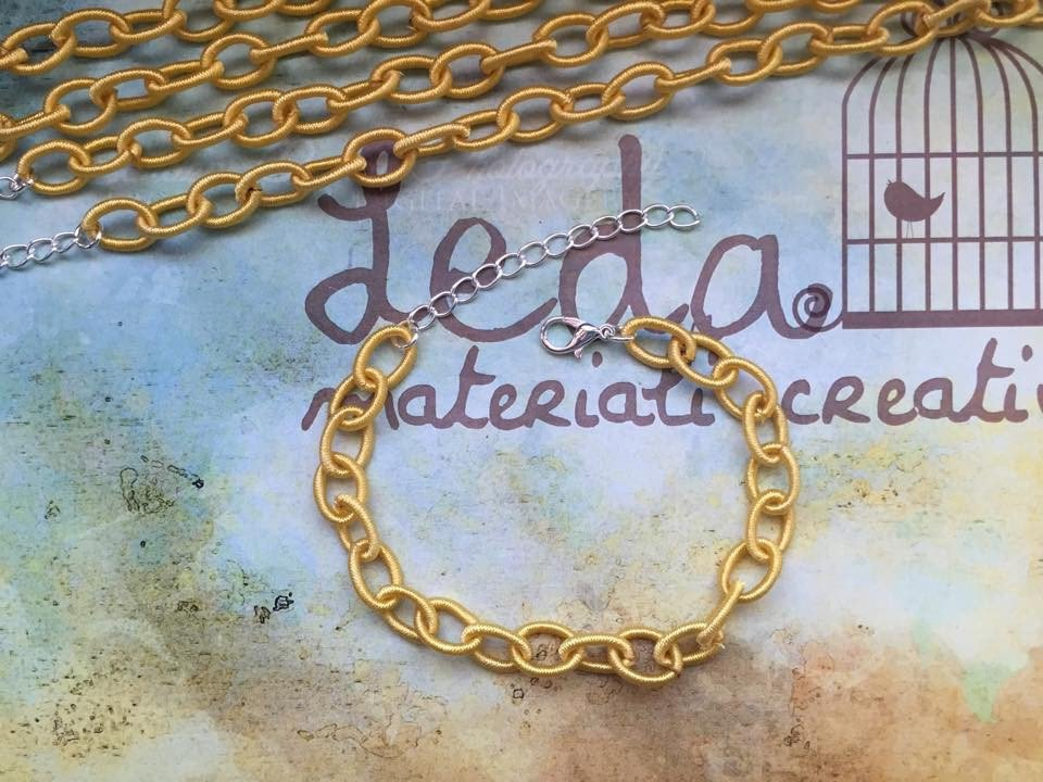 Base bracciale catena di seta giallo