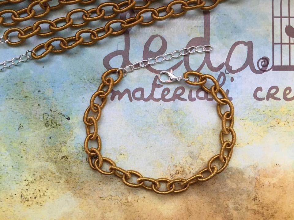 Base bracciale catena di seta senape