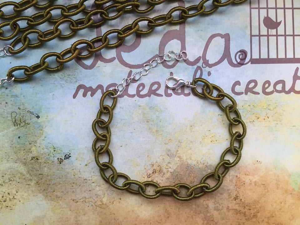 Base bracciale catena di seta verde oliva