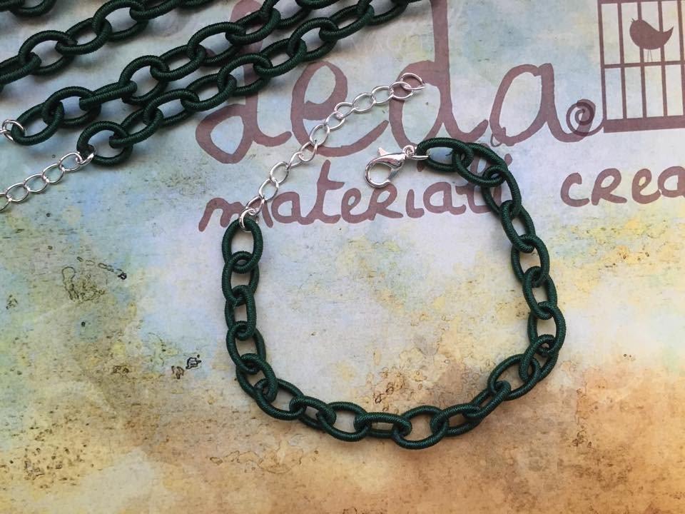 Base bracciale catena di seta verde scuro