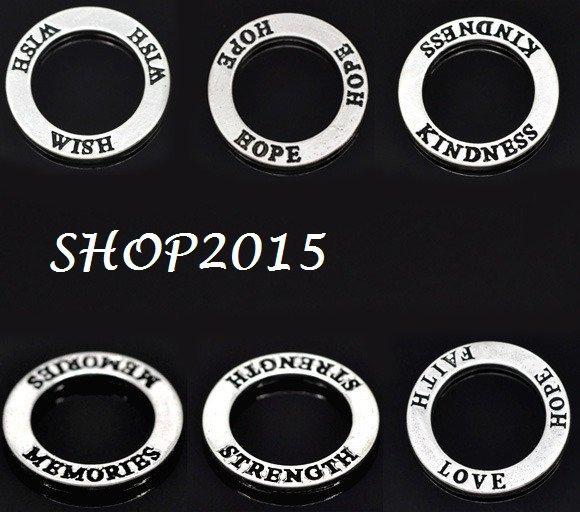 5 pz mix connettori anello chiuso ciondoli con scritta Inglese 2,3 cm