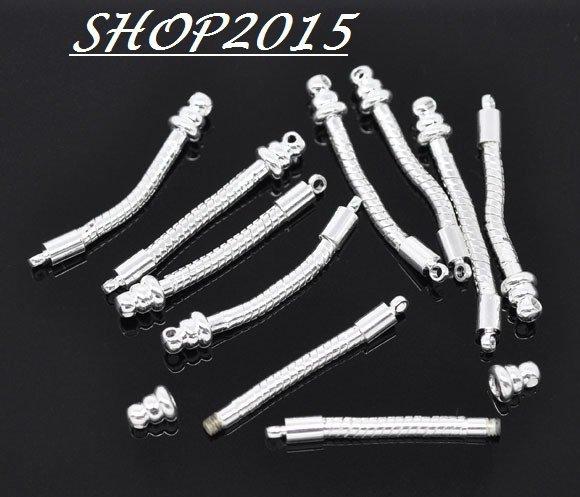 2 basi (coppia) x orecchini snake per  perle a foro largo 4 cm argentato
