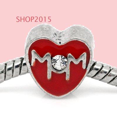 perla cuore scritta mom  a foro largo smaltato rosso con strass  11×11 mm