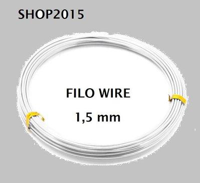 10 mt Filo in Alluminio argentato 1.5mm x tecnica wire