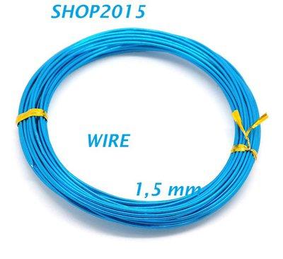 10 mt Filo in Alluminio azzurro 1.5mm x tecnica wire