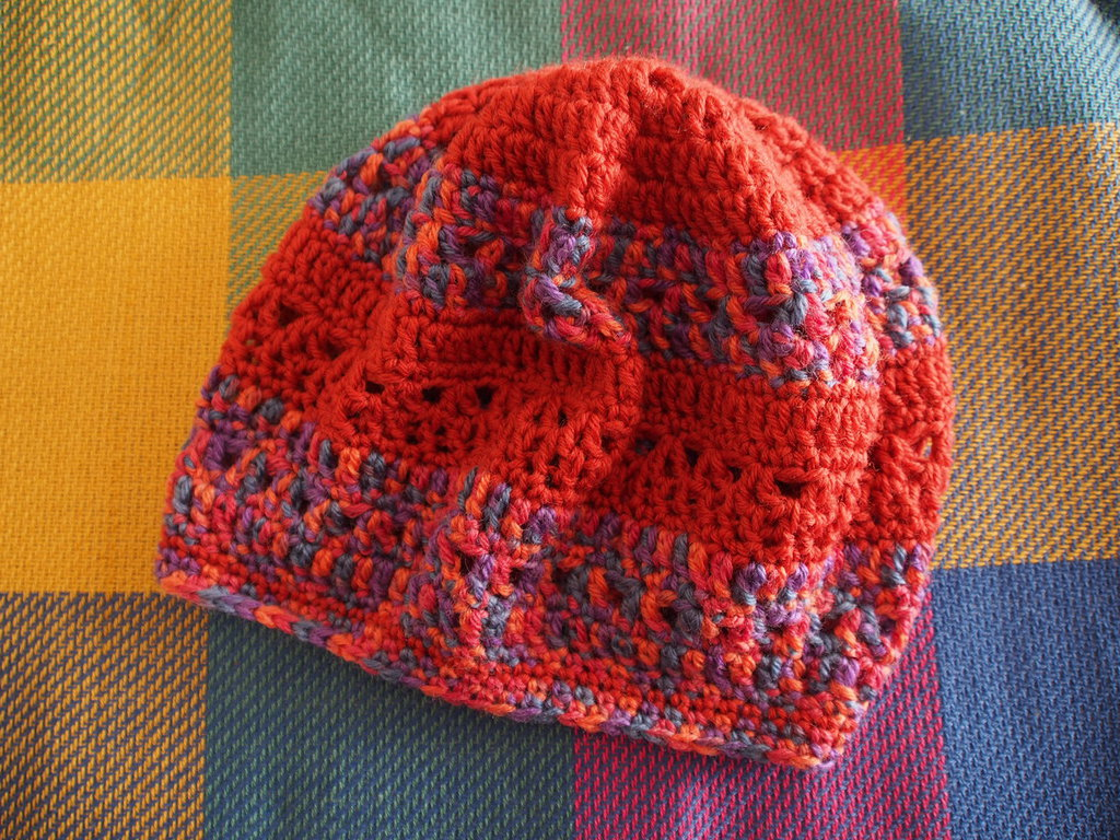 Cappuccio a Righe color Mattone e Multicolor