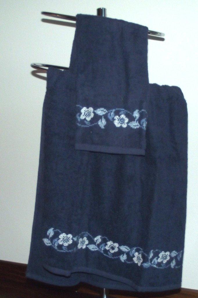 coppia di asciugamani blu