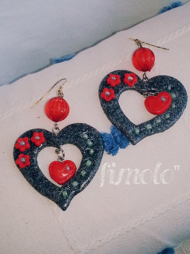 orecchini cuore pendenti san valentino in fimo