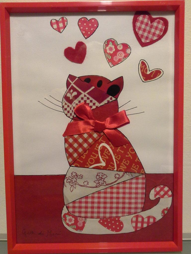Quadro con gatto e cuori - Feste - Idee regalo - di Ghiribizzi di ...