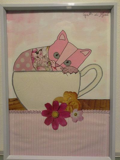 Quadro con gattino in tazza