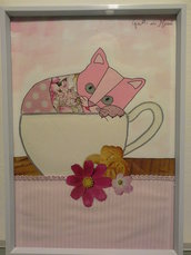 Quadro con gattino in tazza