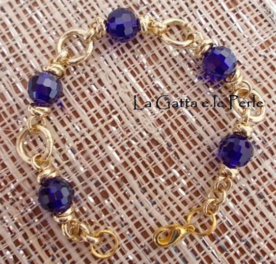 Bracciale color oro con mezzo cristallo Blu Cobalto