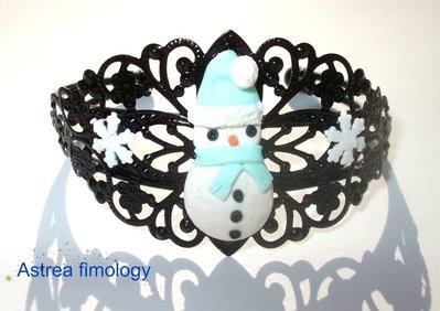 bracciale rigido con pupazzo di neve