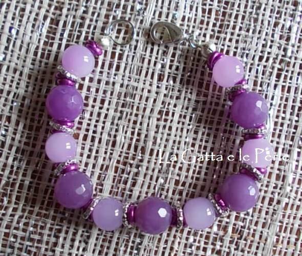 Bracciale con Perle in vetro Viola e Lavanda